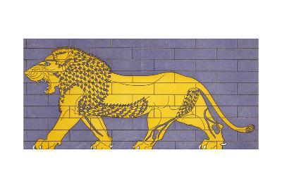 Reproduction of Enamel Decoration with Lion Walking Behind King--Giclee Print