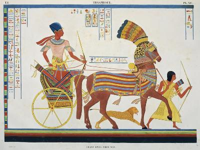 Reproduction of Fresco Depicting People with Chariot, Abu Simbel Temple-J.F. Champollion-Giclee Print