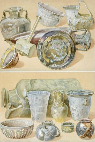 Reproduction of Glass Objects, from the Houses and Monuments of Pompeii-Fausto and Felice Niccolini-Giclee Print