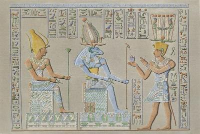 Reproduction of Reliefs Depicting the Pharaoh before Two Deities Khnum and Neith--Giclee Print