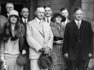 Republican Nominee Hoover Heads the Greeting Party for President and Mrs Coolidge
