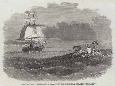 Rescue of Captain Baker and a Seaman by the Royal Mail Steamer England--Giclee Print