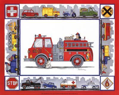 Rescue Trucks-Marnie Bishop Elmer-Art Print