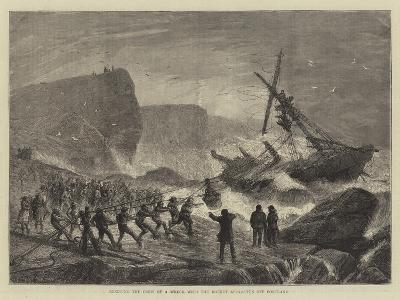 Rescuing the Crew of a Wreck with the Rocket Apparatus Off Portland--Giclee Print