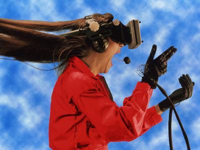 Researcher Wearing Virtual Reality Headset--Photographic Print