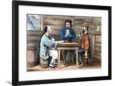 Resentment of Chinese in Gold Mining Areas of United States, 1875-Currier & Ives-Framed Giclee Print