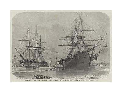 Reshipment of the Atlantic Telegraph Cable on Board the Agamemnon, and Niagara in Keyham Basin-Edwin Weedon-Giclee Print