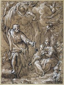 Rest on Flight into Egypt, by Federico Zuccari (Ca 1540-1609), Italy, 16th Century