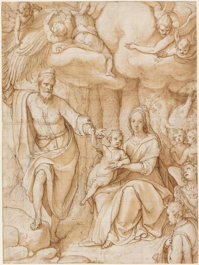 Rest on the Flight into Egypt (Black Chalk with Pen and Ink and Wash on Paper)-Federico Zuccaro-Giclee Print