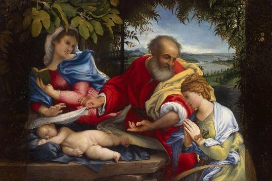 Rest on the Flight into Egypt with Saint Justina, 1529-Lorenzo Lotto-Giclee Print