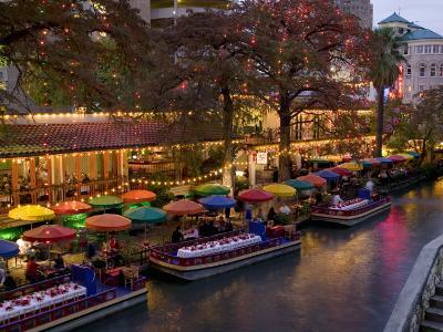 Restaurant Along a River Lit Up at Dusk, San Antonio River, San Antonio, Texas, USA--Photographic Print