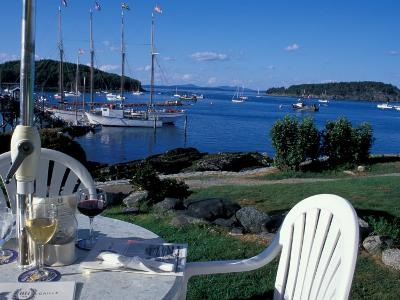 Restaurant at the Bar Harbor Inn and View of the Porcupine Islands, Maine, USA-Jerry & Marcy Monkman-Photographic Print