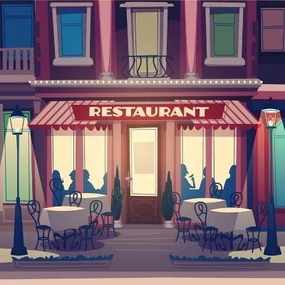 Restaurant Facade. Retro Style Vector Illustration- Doremi-Art Print