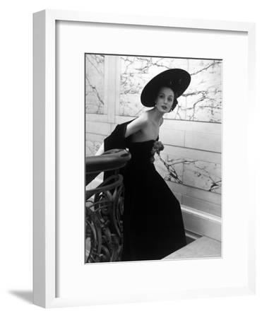 Restaurant Fashions: Cartwheel Hat, Strapless Evening Dress and Stole-Nina Leen-Framed Premium Photographic Print
