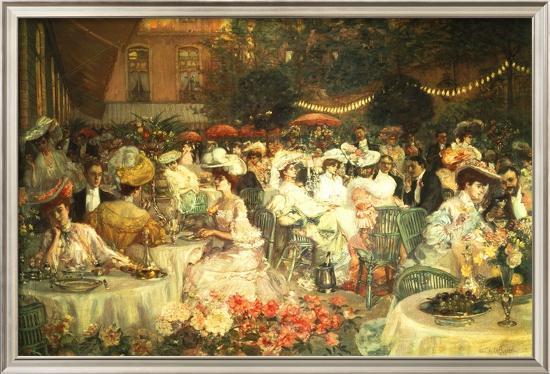 Restaurant Terrace--Framed Textured Art