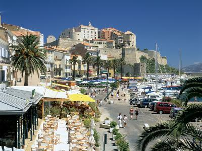 Restaurants in the Old Port with the Citadel in the Background, Calvi, Corsica-Peter Thompson-Photographic Print