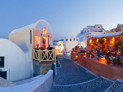 Restaurants in the Village of Oia, Santorini, Cyclades Islands, Aegean Sea, Greece, Europe-Gavin Hellier-Photographic Print