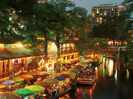 Restaurants On The Riverwalk San Antonio Tx Photographic Print By Walter Bibikow Art