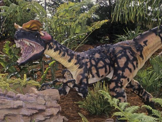 Restoration of Spitter Dinosaur Fossil (Dilophosaurus), Early Jurassic, 195 M.Y.A., Arizona, USA-Ken Lucas-Photographic Print