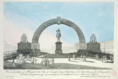 Restoration of the Statue of Henry IV on Pont Neuf, Paris, 25 August 1818--Giclee Print