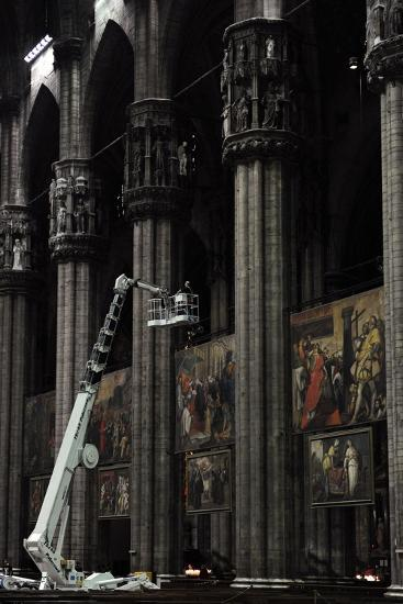 Restoration Work. Cathedral of Milan, Inside--Giclee Print