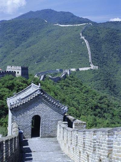 Restored Section with Watchtowers of the Great Wall, Northeast of Beijing, Mutianyu, China-Tony Waltham-Photographic Print