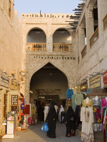 Restored Souq Waqif with Mud Rendered Shops and Exposed Timber Beams, Doha,  Qatar, Middle East Photographic Print by Gavin Hellier | Art com