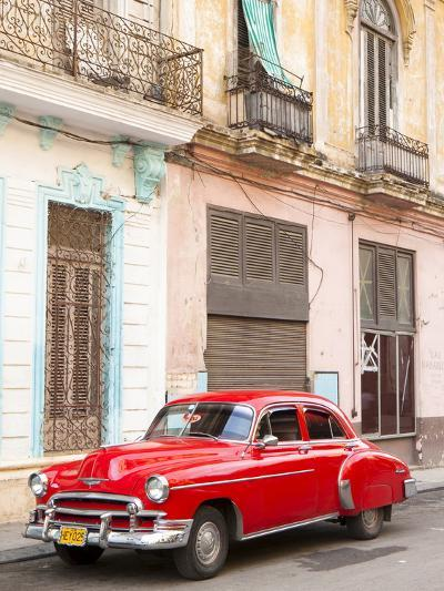 Restrored Red American Car Pakred Outside Faded Colonial Buildings, Havana, Cuba-Lee Frost-Photographic Print