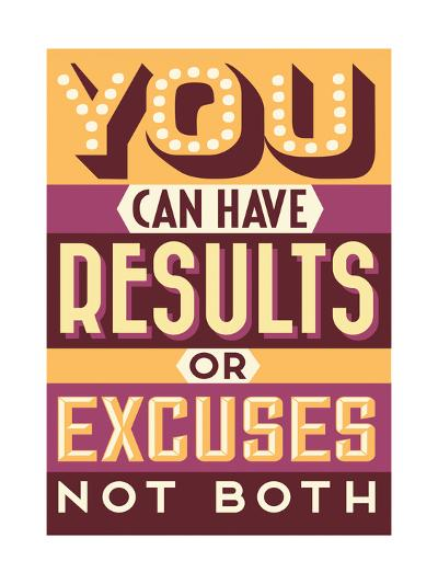 Results Not Excuses-Vintage Vector Studio-Art Print