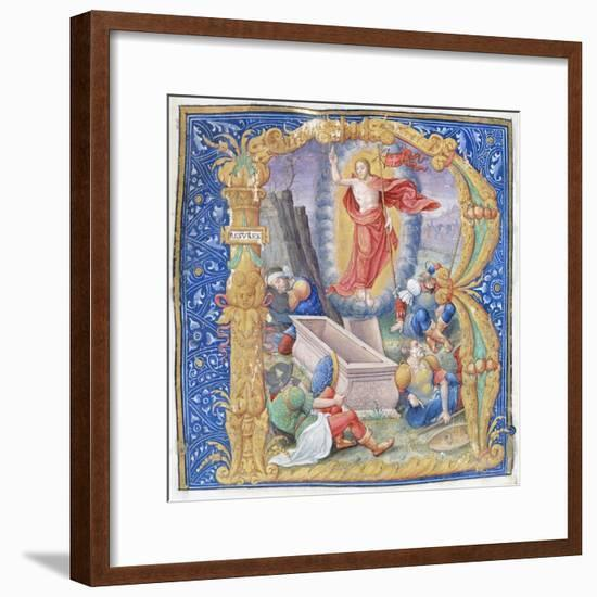 Resurrection of Christ, a Miniature from a Medieval Antiphonary, Latin Manuscript, 16th Century--Framed Giclee Print