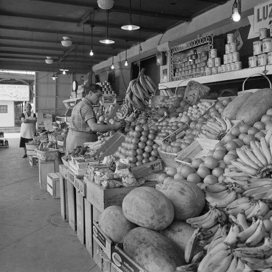 Retail Vegetable Markets Line the Decatur Street Side of the French Market--Photographic Print