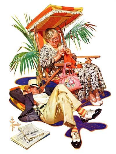 """Retired Couple at Beach,""February 20, 1937-Joseph Christian Leyendecker-Giclee Print"