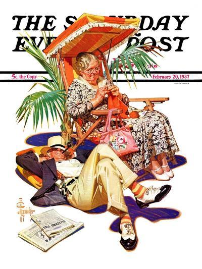 """Retired Couple at Beach,"" Saturday Evening Post Cover, February 20, 1937-Joseph Christian Leyendecker-Giclee Print"