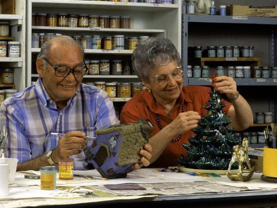 Retired Couple Making Ceramics in Art Class-Bill Bachmann-Photographic Print