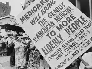 Retired Senior Citizens Carrying Pro-Medicare Signs, at Ama Convention, 1965
