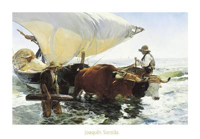 Retorno de la Pesca, Remolcando la Barca-Joaqu?n Sorolla y Bastida-Art Print