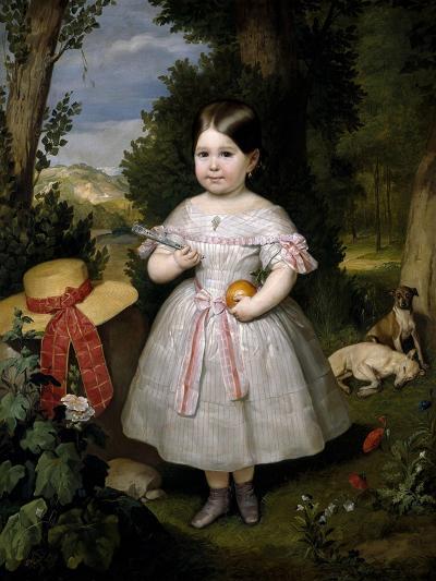 Retrato De Niña Con Fondo De Paisaje, 1847-Carlos Luis De Ribera Y Fieve-Giclee Print