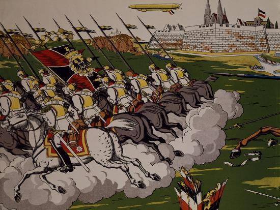 Retreat of Prussian in Face of Cossacks, 1914, Lubok, Detail, World War I, Russia--Giclee Print