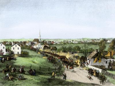 Retreat of the British from Concord, Massachusetts, at the Outset of the American Revolution--Giclee Print