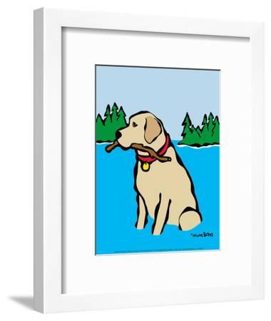 Retriever in Lake-Marc Tetro-Framed Art Print