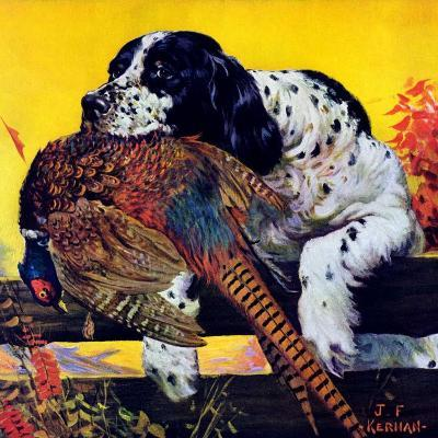 """Retriever with Pheasant,""November 1, 1934-J^F^ Kernan-Giclee Print"
