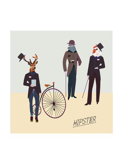Retro Animals Hipster Like-run4it-Art Print