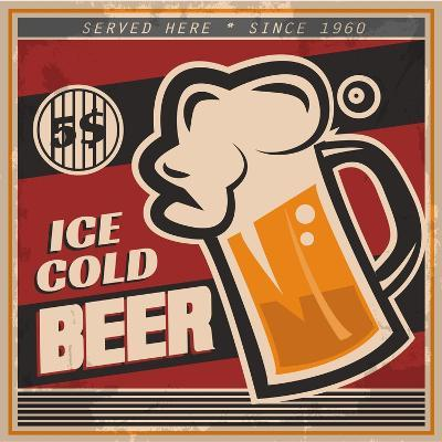 Retro Beer Poster-Ayeshstockphoto-Art Print