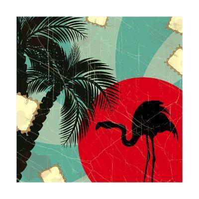 Retro Blue Tropical Background With Flamingo-elfivetrov-Art Print