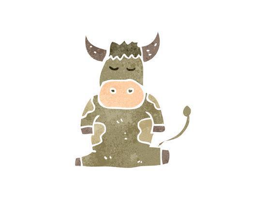Retro Cartoon Cow-lineartestpilot-Art Print