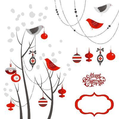 Retro Christmas Card with Two Birds, White Snowflakes, Winter Trees and Baubles-Alisa Foytik-Art Print