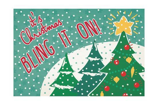Retro Christmas IV Bright-Janelle Penner-Art Print