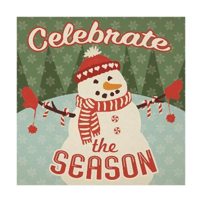 Retro Christmas VII Celebrate the Season-Janelle Penner-Art Print
