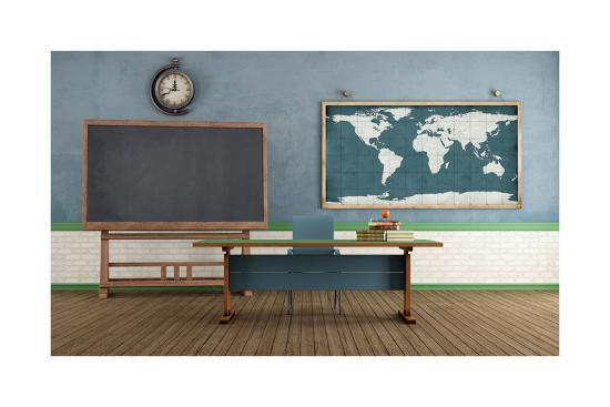 Retro Classroom without Student-archidea-Art Print