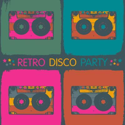 Retro Disco Party Invitation in Pop-Art Style. Raster Version, Vector File Available in Portfolio.-pashabo-Photographic Print